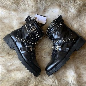 ZARA COMBAT BOOTS WITH FAUX DIAMOND METAL ACCENT